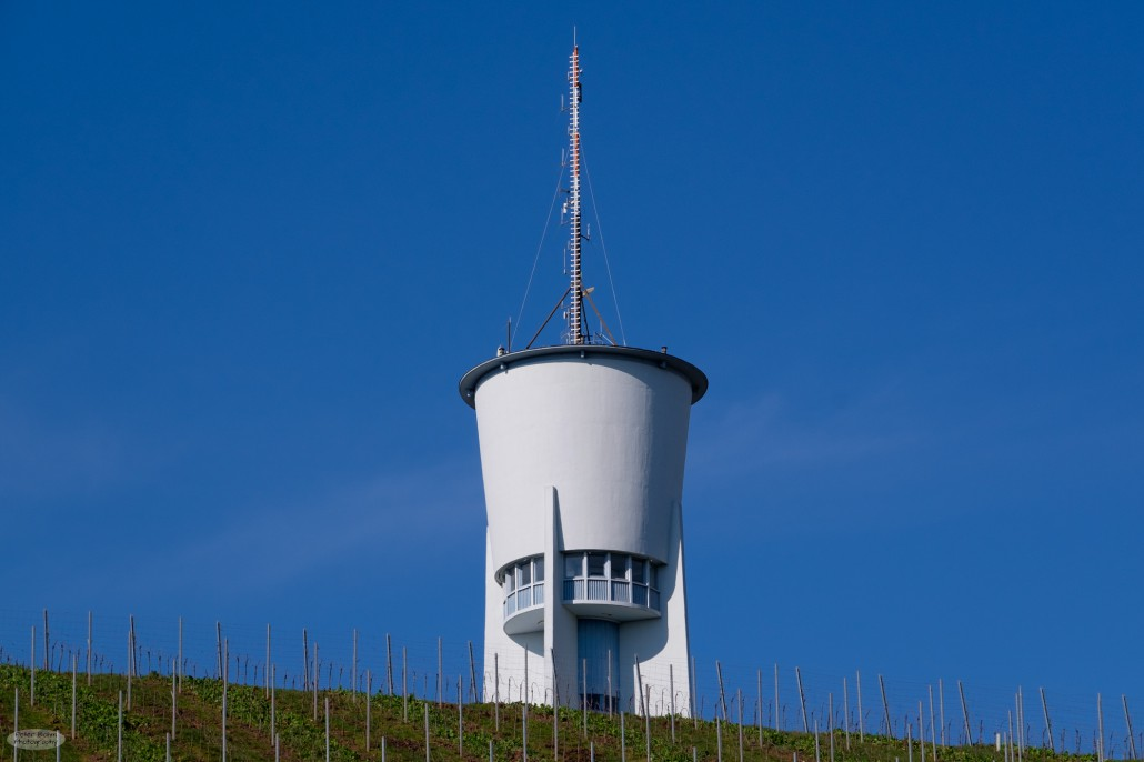 An old water tower at the top of the Petrisberg is a landmark of Trier